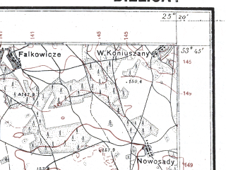 Reduced fragment of topographic map pl--wig--100k--P34S40--(1929)--N053-45_E024-50--N053-30_E025-20; towns and cities Zheludok
