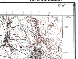 Reduced fragment of topographic map pl--wig--100k--P34S41--(1929)--N053-45_E025-20--N053-30_E025-50; towns and cities Novogrudok, Berezovka, Noviny