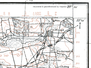Reduced fragment of topographic map pl--wig--100k--P34S44--(1930)--N053-45_E026-50--N053-30_E027-20; towns and cities Dzerzhinsk, Negoreloye, Rubezhevichi