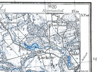 Reduced fragment of topographic map pl--wig--100k--P35S20--(1937)--N053-30_E014-50--N053-15_E015-20; towns and cities Stargard Szczecinski, Maszewo