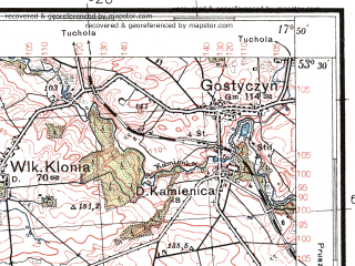 Reduced fragment of topographic map pl--wig--100k--P35S25--(1938)--N053-30_E017-20--N053-15_E017-50; towns and cities Sepolno Krajenskie, Wiecbork