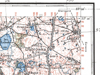Reduced fragment of topographic map pl--wig--100k--P35S26--(1934)--N053-30_E017-50--N053-15_E018-20; towns and cities Koronowo, Pruszcz