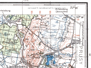 Reduced fragment of topographic map pl--wig--100k--P35S32--(1932)--N053-30_E020-50--N053-15_E021-20; towns and cities Chorzele, Wielbark