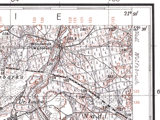 Reduced fragment of topographic map pl--wig--100k--P35S33--(1931)--N053-30_E021-20--N053-15_E021-50; towns and cities Myszyniec, Wilamowo