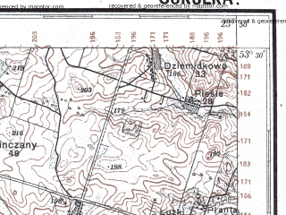Reduced fragment of topographic map pl--wig--100k--P35S37--(1928)--N053-30_E023-20--N053-15_E023-50; towns and cities Sokolka, Krynki