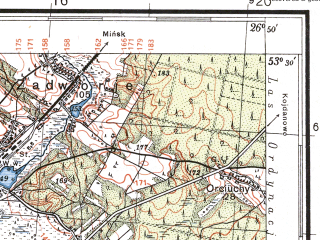 Reduced fragment of topographic map pl--wig--100k--P35S43--(1935)--N053-30_E026-20--N053-15_E026-50; towns and cities Stolbtsy, Mir