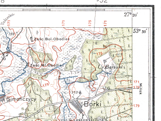 Reduced fragment of topographic map pl--wig--100k--P35S44--(1935)--N053-30_E026-50--N053-15_E027-20; towns and cities Uzda