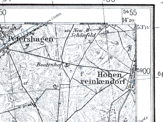 Reduced fragment of topographic map pl--wig--100k--P36S18--(1937)--N053-15_E013-50--N053-00_E014-20 in area of Oberuckersee; towns and cities Schwedt, Angermunde