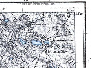 Reduced fragment of topographic map pl--wig--100k--P36S20--(1935)--N053-15_E014-50--N053-00_E015-20; towns and cities Pyrzyce, Lipiany