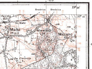 Reduced fragment of topographic map pl--wig--100k--P36S28--(1930)--N053-15_E018-50--N053-00_E019-20; towns and cities Golub-dobrzyn, Kowalewo Pomorskie
