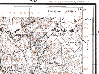 Reduced fragment of topographic map pl--wig--100k--P36S29--(1930)--N053-15_E019-20--N053-00_E019-50; towns and cities Rypin