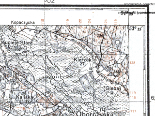 Reduced fragment of topographic map pl--wig--100k--P36S32--(1931)--N053-15_E020-50--N053-00_E021-20; towns and cities Przasnysz