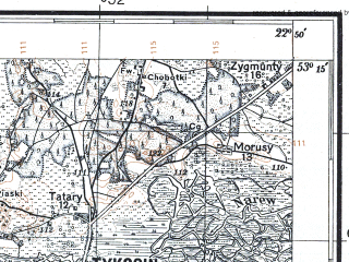 Reduced fragment of topographic map pl--wig--100k--P36S35--(1931)--N053-15_E022-20--N053-00_E022-50; towns and cities Tykocin, Wizna