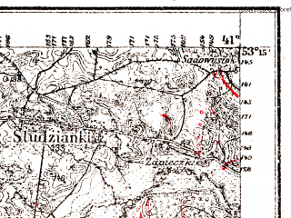 Reduced fragment of topographic map pl--wig--100k--P36S36--(1927)--N053-15_E022-50--N053-00_E023-20; towns and cities Bialystok
