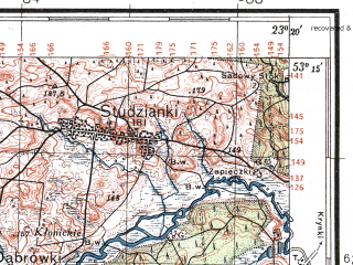 Reduced fragment of topographic map pl--wig--100k--P36S36--(1933)--N053-15_E022-50--N053-00_E023-20; towns and cities Bialystok