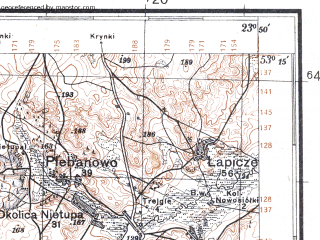 Reduced fragment of topographic map pl--wig--100k--P36S37--(1931)--N053-15_E023-20--N053-00_E023-50; towns and cities Grodek