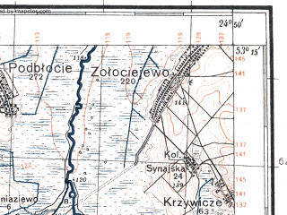 Reduced fragment of topographic map pl--wig--100k--P36S39--(1933)--N053-15_E024-20--N053-00_E024-50; towns and cities Volkovysk