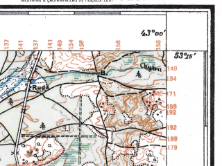 Reduced fragment of topographic map pl--wig--100k--P36S40--(1933)--N053-15_E024-50--N053-00_E025-20; towns and cities Slonim, Derechin
