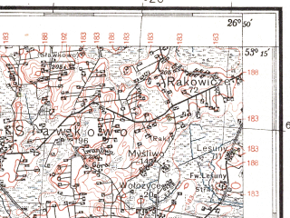 Reduced fragment of topographic map pl--wig--100k--P36S43--(1936)--N053-15_E026-20--N053-00_E026-50; towns and cities Nesvizh, Kletsk