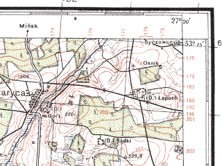 Reduced fragment of topographic map pl--wig--100k--P36S44--(1933)--N053-15_E026-50--N053-00_E027-20; towns and cities Kopyl', Staritsa, Timkovichi