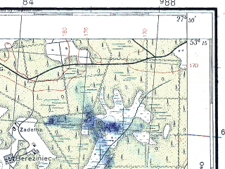 Reduced fragment of topographic map pl--wig--100k--P36S45--(1937)--N053-15_E027-20--N053-00_E027-50; towns and cities Slutsk, Nabushevo, Shishitsy