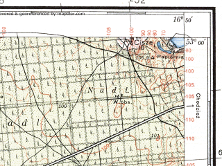 Reduced fragment of topographic map pl--wig--100k--P37S23--(1935)--N053-00_E016-20--N052-45_E016-50; towns and cities Czarnkow
