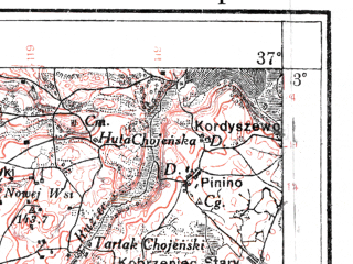 Reduced fragment of topographic map pl--wig--100k--P37S28--(1925)--N053-00_E018-50--N052-45_E019-20; towns and cities Lipno, Czernikowo, Nieszawa