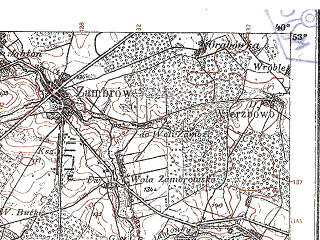 Reduced fragment of topographic map pl--wig--100k--P37S34--(1925)--N053-00_E021-50--N052-45_E022-20; towns and cities Ostrow Mazowiecka, Zambrow