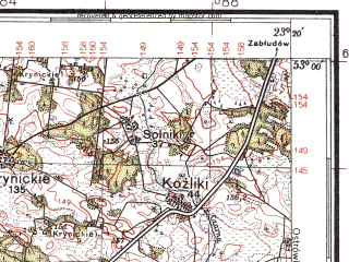 Reduced fragment of topographic map pl--wig--100k--P37S36--(1937)--N053-00_E022-50--N052-45_E023-20; towns and cities Bielsk Podlaski, Lapy