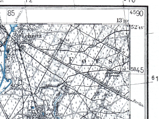 Reduced fragment of topographic map pl--wig--100k--P38S16--(1938)--N052-45_E012-50--N052-30_E013-20 in area of Tegeler See; towns and cities Oranienburg