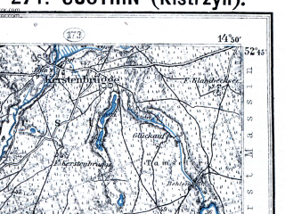 Reduced fragment of topographic map pl--wig--100k--P38S19--(1928)--N052-45_E014-20--N052-30_E014-50; towns and cities Kostrzyn, Seelow