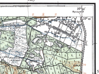 Reduced fragment of topographic map pl--wig--100k--P38S23--(1932)--N052-45_E016-20--N052-30_E016-50; towns and cities Oborniki, Szamotuly, Wronki