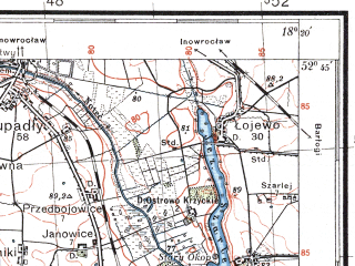 Reduced fragment of topographic map pl--wig--100k--P38S26--(1935)--N052-45_E017-50--N052-30_E018-20; towns and cities Mogilno, Strzelno, Orchowo