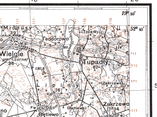 Reduced fragment of topographic map pl--wig--100k--P38S28--(1930)--N052-45_E018-50--N052-30_E019-20; towns and cities Wloclawek, Brzesc Kujawski