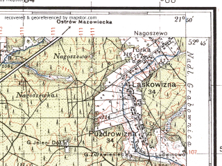 Reduced fragment of topographic map pl--wig--100k--P38S33--(1936)--N052-45_E021-20--N052-30_E021-50; towns and cities Wyszkow, Lochow