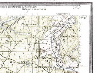 Reduced fragment of topographic map pl--wig--100k--P38S33--(1938)--N052-45_E021-20--N052-30_E021-50; towns and cities Wyszkow, Lochow