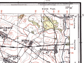 Reduced fragment of topographic map pl--wig--100k--P38S36--(1937)--N052-45_E022-50--N052-30_E023-20; towns and cities Kleszczele