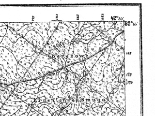 Reduced fragment of topographic map pl--wig--100k--P38S39--(1921)--N052-45_E024-20--N052-30_E024-50; towns and cities Pruzhany, Slobudka