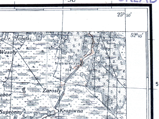 Reduced fragment of topographic map pl--wig--100k--P38S41--(1926)--N052-45_E025-20--N052-30_E025-50; towns and cities Ivatsevichi