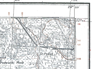 Reduced fragment of topographic map pl--wig--100k--P38S42--(1924)--N052-45_E025-50--N052-30_E026-20; towns and cities Telekhany