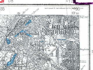 Reduced fragment of topographic map pl--wig--100k--P39S16--(1938)--N052-30_E012-50--N052-15_E013-20 in area of Schwielowsee; towns and cities Berlin, Potsdam