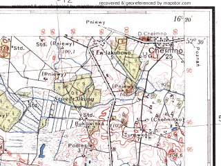 Reduced fragment of topographic map pl--wig--100k--P39S22--(1937)--N052-30_E015-50--N052-15_E016-20; towns and cities Nowy Tomysl, Lwowek