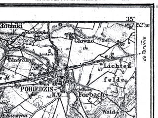Reduced fragment of topographic map pl--wig--100k--P39S24--(1921)--N052-30_E016-50--N052-15_E017-20; towns and cities Poznan, Lubon, Swarzedz, Pobiedziska, Kostrzyn
