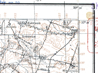Reduced fragment of topographic map pl--wig--100k--P39S30--(1929)--N052-30_E019-50--N052-15_E020-20; towns and cities Kiernozia, Wyszogrod