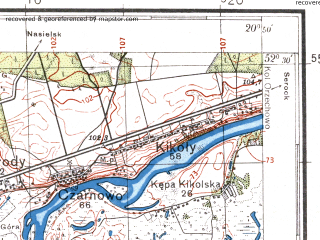 Reduced fragment of topographic map pl--wig--100k--P39S31--(1934)--N052-30_E020-20--N052-15_E020-50; towns and cities Nowy Dwor Mazowiecki