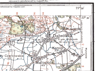 Reduced fragment of topographic map pl--wig--100k--P39S32--(1933)--N052-30_E020-50--N052-15_E021-20; towns and cities Legionowo, Wolomin, Zabki, Marki, Radzymin
