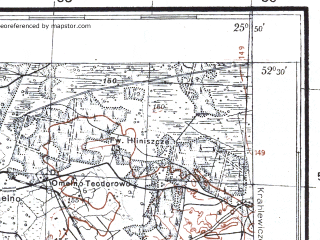 Reduced fragment of topographic map pl--wig--100k--P39S41--(1926)--N052-30_E025-20--N052-15_E025-50; towns and cities Motol