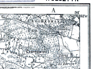 Reduced fragment of topographic map pl--wig--100k--P40S22--(1927)--N052-15_E015-50--N052-00_E016-20; towns and cities Wolsztyn, Kargowa, Rakoniewice
