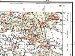 Reduced fragment of topographic map pl--wig--100k--P40S22--(1936)--N052-15_E015-50--N052-00_E016-20; towns and cities Wolsztyn, Kargowa, Rakoniewice