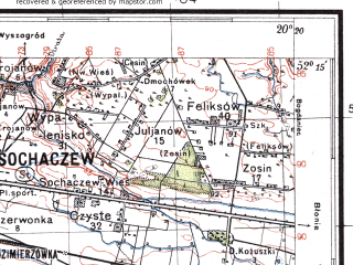 Reduced fragment of topographic map pl--wig--100k--P40S30--(1936)--N052-15_E019-50--N052-00_E020-20; towns and cities Lowicz, Sochaczew